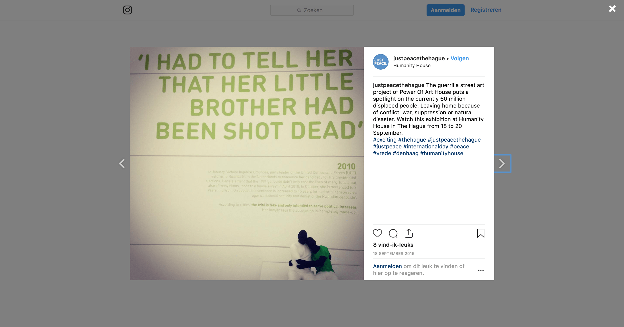 Instagrambericht over Humanity House tijdens Just Peace