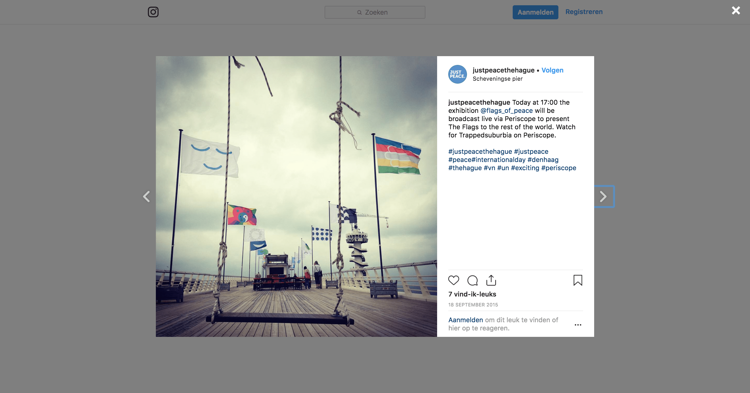 Instagrambericht over Flags of Peace tijdens Just Peace